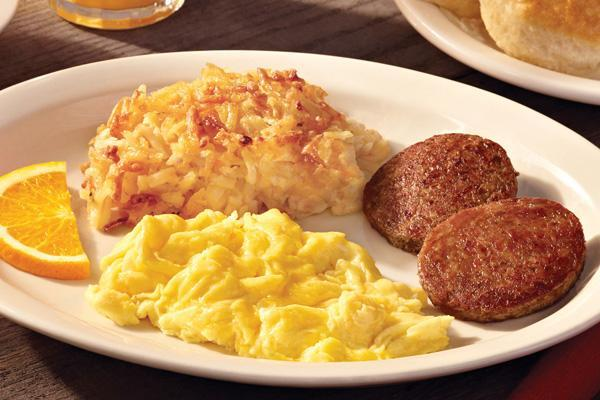 2 turkey sausage patties, hashbrown casserole, 2 egg beaters scrambled egg.  Calories 370 ...