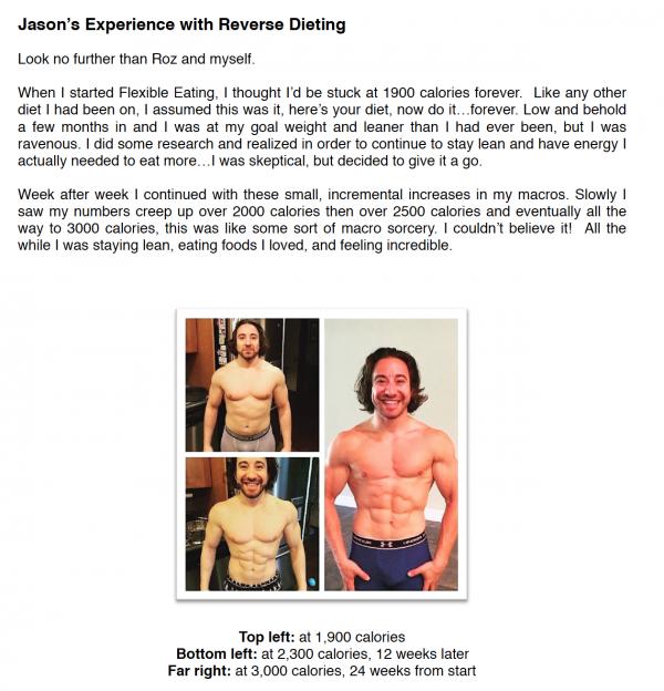Jason's reverse dieting experience