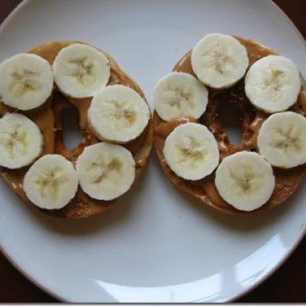Jason's famous Peanut Butter and Banana on a Bagel