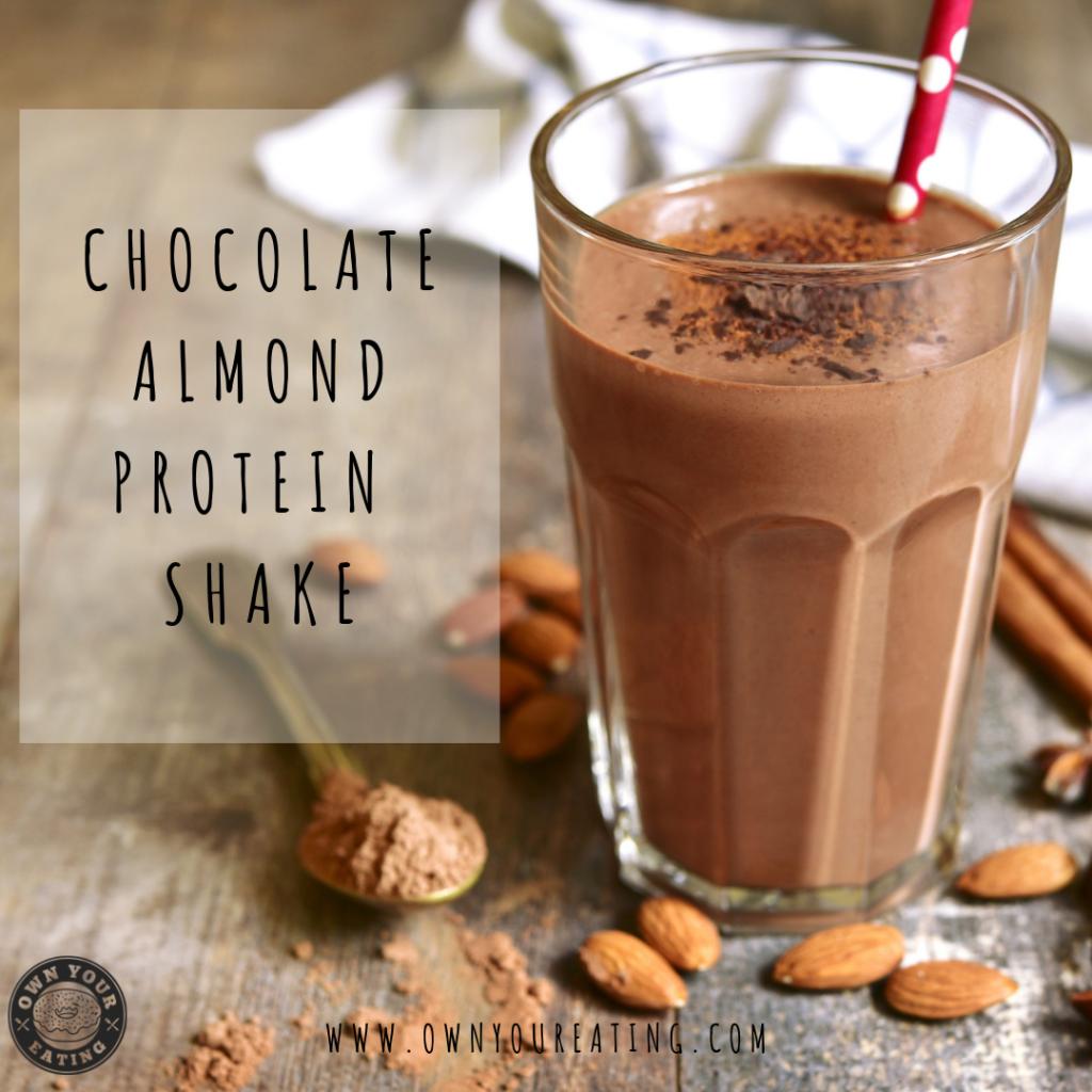 healthy breakfast Chocolate almond butter protein shake