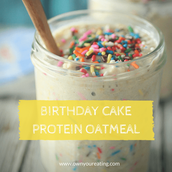 Birthday Cake Overnight Protein Oatmeal [Recipe]